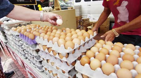 kaynatmak : Slow pan of fresh eggs for sale at an open market in San Francisco