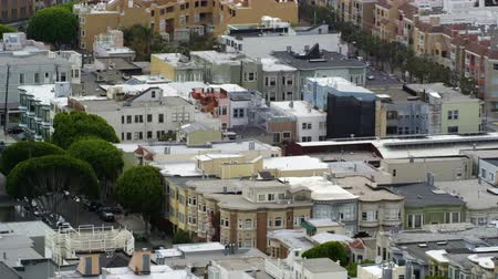 Aerial still shot of a city neighborhood in San Francisco Stock Footage