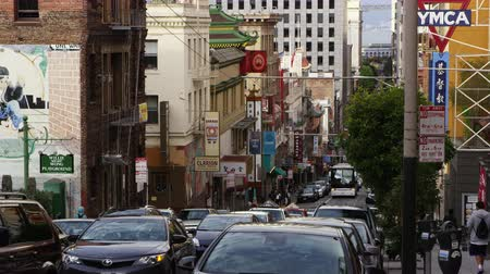 Pan of a busy chinatown street in San Francisco