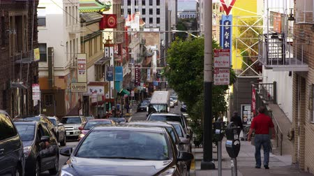 Static shot of a busy street in Chinatown, San Francisco