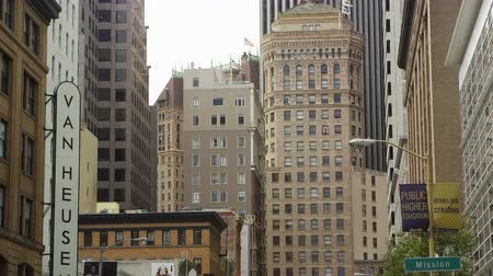 Pan up street view of some buildings in San Francisco Stock Footage