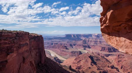 Timelapse on slider looking over Dead Horse Point canyonlands in Moab, Utah.