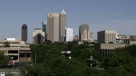 us bank tower : A cityscape of the Indianapolis, Indiana skyline. The One America Tower is prominent. Stock Footage