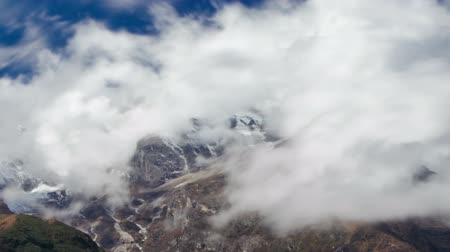 Time-lapse of clouds moving around Himalayan mountains. Cropped.