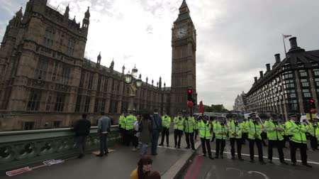 protestor : People protesting in London because the government slashed some of their healthcare coverage and policeman keeping things in control in London, England. Filmed on October 9, 2011.