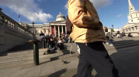 sütun : Crowds of people sit on the steps of the National Gallery Art Museum at Trafalgar Square in London, England. Filmed on October 7, 2011. Stok Video