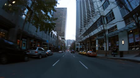 visitante : Seattle, Washington - November 2011: View from car driving around on the streets of Seattle. Stock Footage