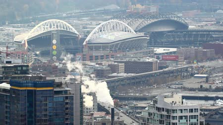 visitante : Seattle, Washington - November 2011: Static zoomed view looking at Century Link, and Safeco Stadiums.