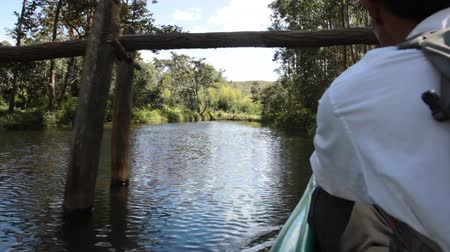 aboriginal : Mahajanga, Madagascar - CIRCA 2013 - View from the back of a canoe floating down river with the side of the guide in view.
