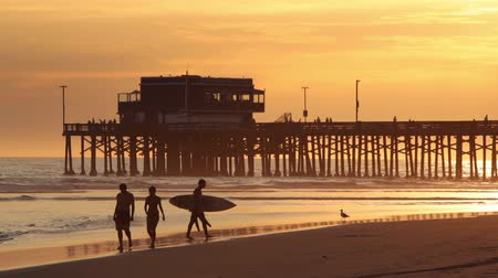 Калифорния : Newport Beach, California - August, 2014: Static view of the Newport Pier as people walk and play on the beach at Sunset.