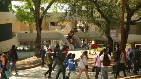 aluna : San Antonio, Texas - April, 2014: Kids walking around campus after class was let out at a University.