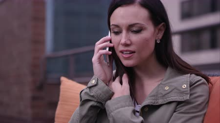 Up close view of woman making call on smartphone. Stock Footage