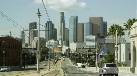 Los Angeles, California October - 2014: Static shot of city street looking toward skyscrapers in Los Angeles. Stock Footage