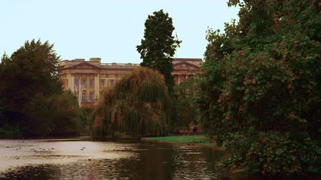 buckingham palace : Stationary shot of Saint James Park waterway with the Buckingham Palace in the background. There are plenty of trees around. Captured on October 8, 2011. Stock Footage