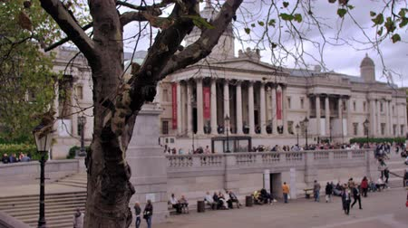 bronz : Panning view of Trafalgar Square, shows unidentified people, brass lions, fountain, and museum in background in London England. Filmed on October 11, 2011.
