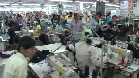 szycie : Move along row of seated unidentified garment workers at their machines, then settle on two shot of standing workers sorting completed garments