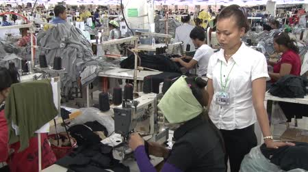 indústria : Supervisor oversees and talks to seated unidentified garment worker who sews at her machine Stock Footage