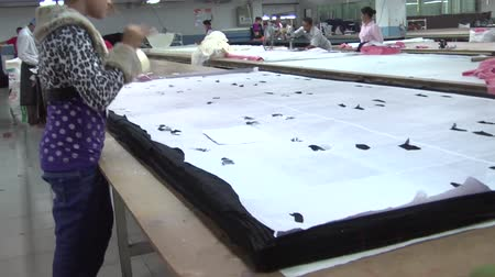 indústria : Female garment worker places pieces of tape on a large paper pattern sitting atop a pile of fabric in preparation for cutting Stock Footage