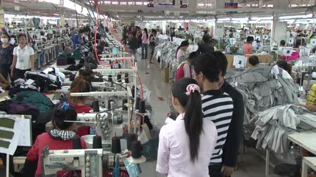 têxtil : Wide shot garment factory aisles with group of observers monitoring the work of unidentified employees who sew at their machines nearby