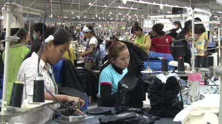 indústria : Many different unidentified garment factory workers in the factory: some ironing, some sewing, some sorting completed garments