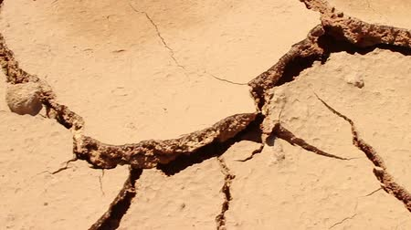 fissures : Camera Dolly Across Dry Cracked Earth, which is now without Water.  Shot covers different cracks than other versions; starts in 2nd position then returns after reaching 1st position. Shot can refer to drought conditions, such as those in California and th