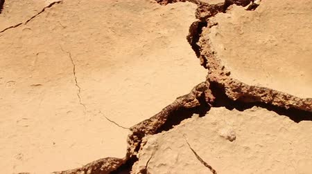 fissures : DROUGHT  DESERT - Dolly diagonally across hot and dry cracked parched earth Stock Footage