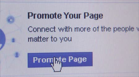 hoşlanmak : Macro close up of synchronized computer monitor showing close up of Facebook promote page button, with user  hand cursor selecting and clicking on it. Pop up appears, then disappears repeat variations