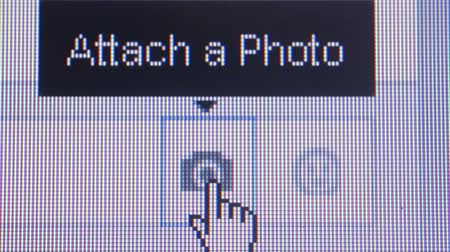 ciberespaço : Macro close up of synchronized computer monitor showing: Cursor hand moves over camera icon, revealing Attach a photo popup.  Cursor hand then moves to smiley face, revealing popup post a sticker.