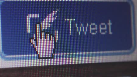 kursor : Macro close up of synchronized computer monitor showing static ECU large close up of user  pointer clicking on Tweet button; multiple variations  ::  One of a series of social media computer icons, buttons and images by StockFootageWorld using dedicated Wideo