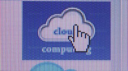 проворный : Macro Shot of Cursor Hand Pointing to CLoud Computing Icon and Clicking on It Стоковые видеозаписи