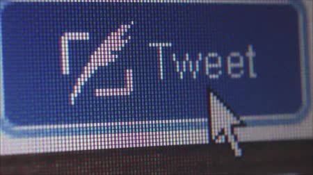 kursor : Macro close up of synchronized computer monitor showing :: static ECU large close up of user  pointer clicking on Tweet button; multiple variations  ::  One of a series of social media computer icons, buttons and images by StockFootageWorld using dedica Wideo