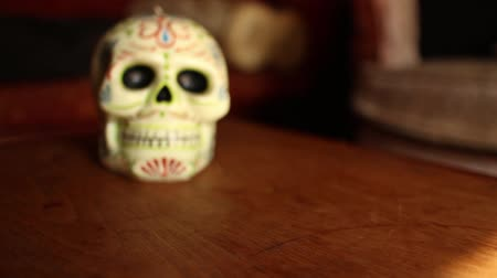 mortal : DOLLY MOVE WITH SKULL: Skull is Cinco de Mayo style, made of Wax, on Wooden table with Vintage couch    CURRENT SHOT One of a Series  - Shallow DOF dolly out from skull; as dolly continues, skull loses focus.  Return dolly back to skull.
