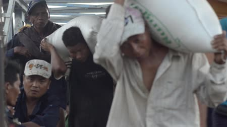 porters : View down gangway as porters carry goods and sacks to and from waiting boats; Stock Footage