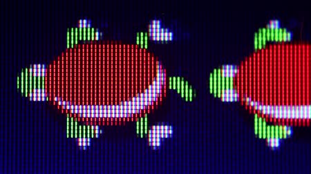 pacífico : Macro Pixel-level view of Turtles from Frogger classic video game swimming by and submerging occasionally with floating logs Stock Footage