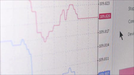 коммерция : Medium angled macro CU of graphs showing various currency fluctuations on real time graphs. A user points and moves a cursor, before camera dolly left to exit. Стоковые видеозаписи