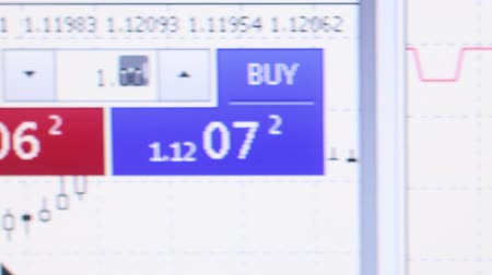 Close up macro view of user at a financial services website, with Sell and Buy icons visible with currency figures above. Camera then dolly right, passing graphs before returning Стоковые видеозаписи