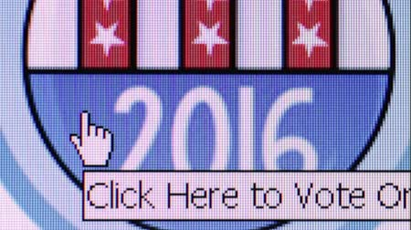 demokratický : Macro ECU at pixel level showing a user moving his cursor over a 2016 USA election banner on a voter website after clicking register to vote. User then scrolls down to register