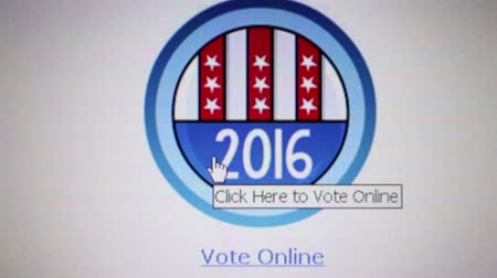 demokratický : Macro close up of online voting screen with US 2016 General election style voting banner, user hovers cursor over and clicks. Dostupné videozáznamy