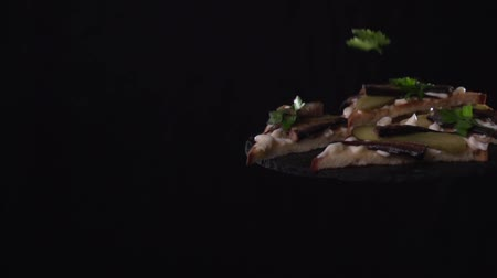 sprats : Sandwiches decorate the top with parsley leaves. Stock Footage