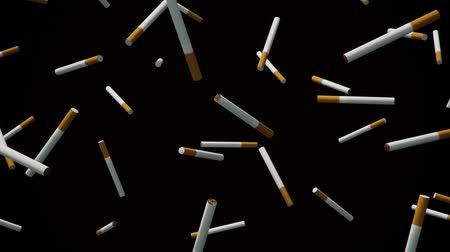 вещество : A looping array of cigarettes against a simple black background. Стоковые видеозаписи