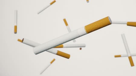 carcinogenic : A looping array of cigarettes against a white background.