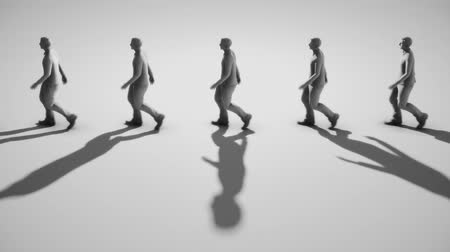 minimalizm : A looped walk cycle featuring a line of figures in an empty space.