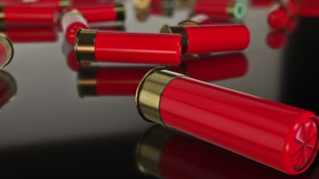 öldürmek : Messy Shotgun Shells on Reflective Surface