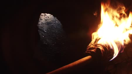 primordial : A burning wood made primitive torch, with strong flame, held in hand by a man. Good for religious, primordial times, undergorund worlds, speology, archeology, exploring or mistery, secrets scenes. The exit or escape way of the cavern can be seen in the fo