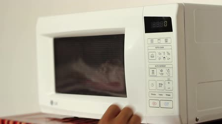 mikrohullámú : Defrosting meat on microwave oven. Suitable video for cookery, culinary, food recipes, diet or eating subjects.