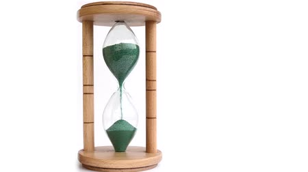ampulheta : A sand hourglass Time Lapse, on white background.