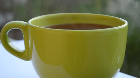 teabag : A hot steaming green cup of tea, waiting to cool down.