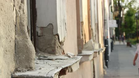 deteriorated : Windows and old riuned building facade. Stock Footage