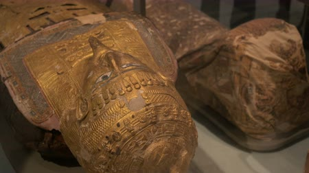 sarcophagus : An Egyptian golden mummy mask painted with decorations and metal work.