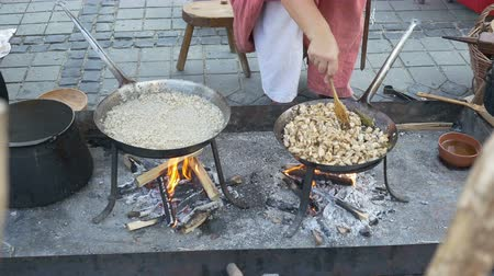 yemek tarifi : Middle Ages woman is preparing food on a pan, with ancient utensils, on a medieval cook camp by a traditional healthy recipe. Stok Video